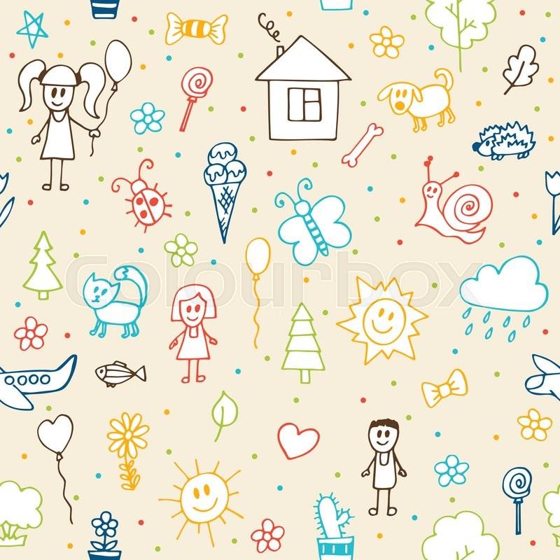 800x800 Hand Drawn Children Drawings Seamless Pattern. Doodle Children