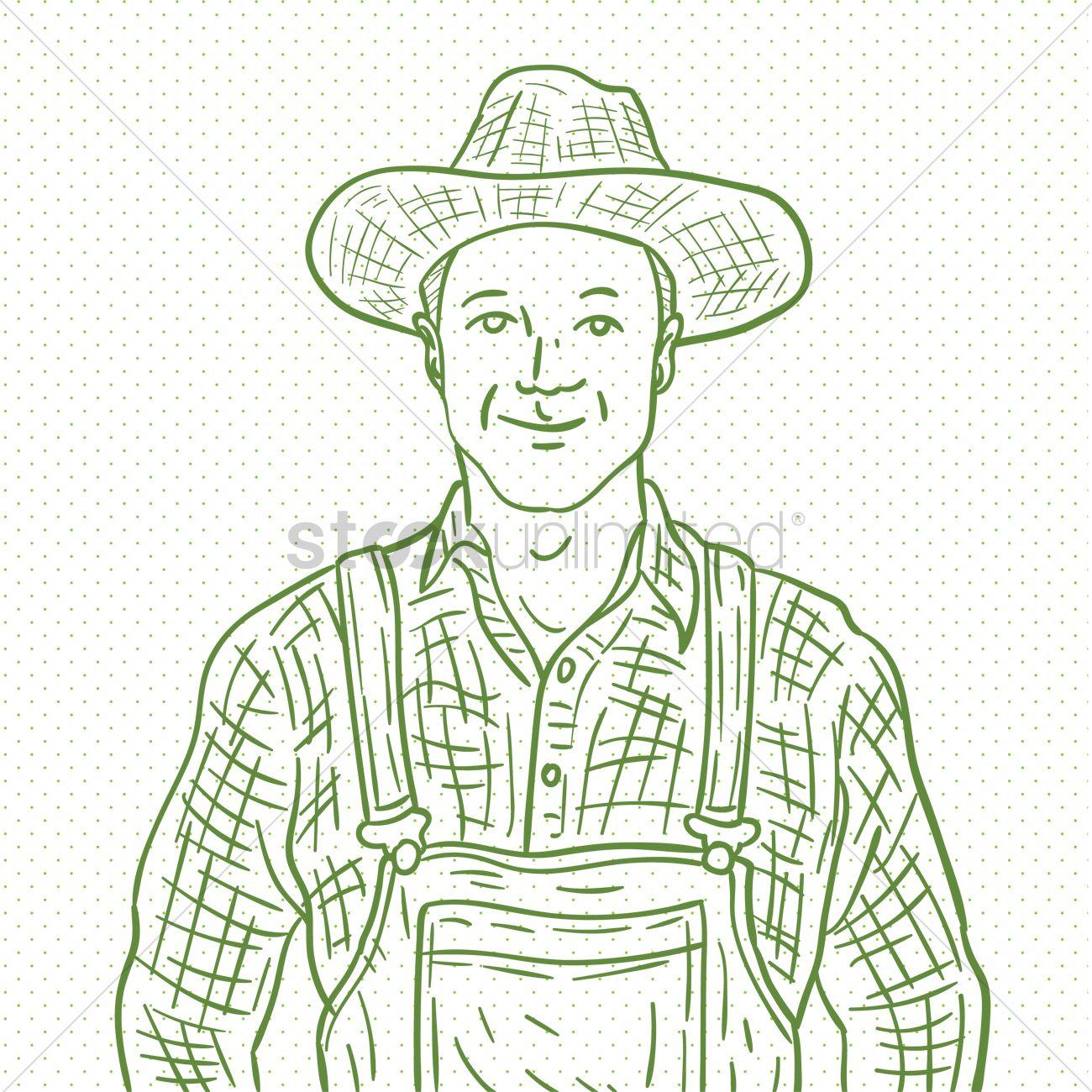 1300x1300 Hand Drawn Farmer Vector Image