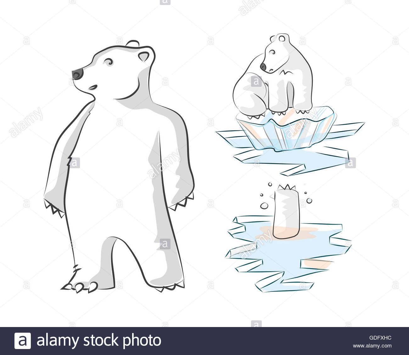 1300x1129 Hand Drawn Illustration And Drawing Of A Polar Bear On Melting Ice