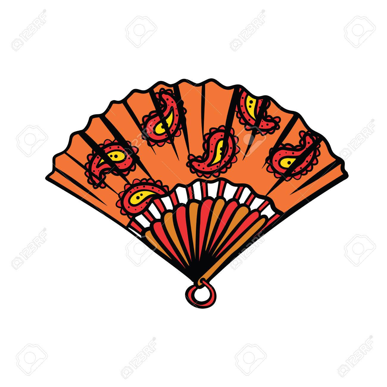 1300x1300 Paper Fan Illustration Isolated On White Background. Comic Book