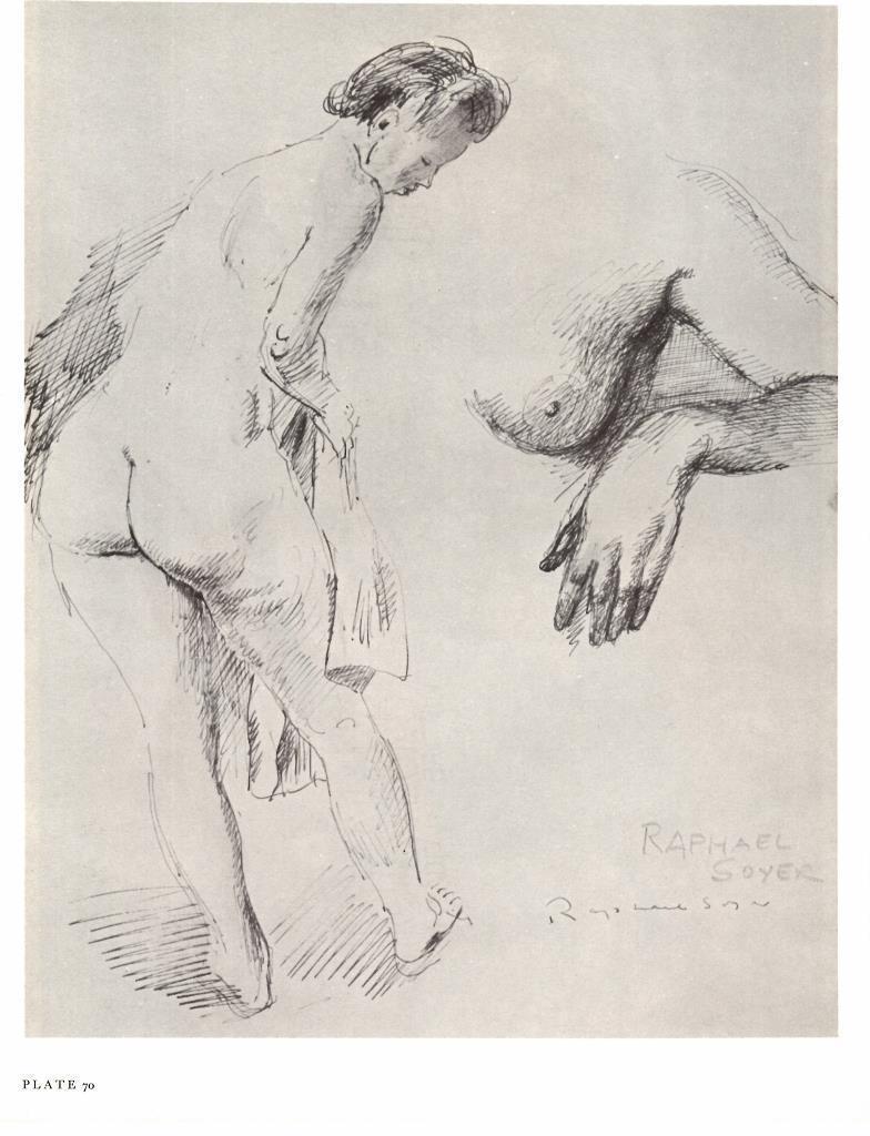 784x1024 1968 Raphael Soyer Figurehand Penink Drawing Nude Vtg Bookplate