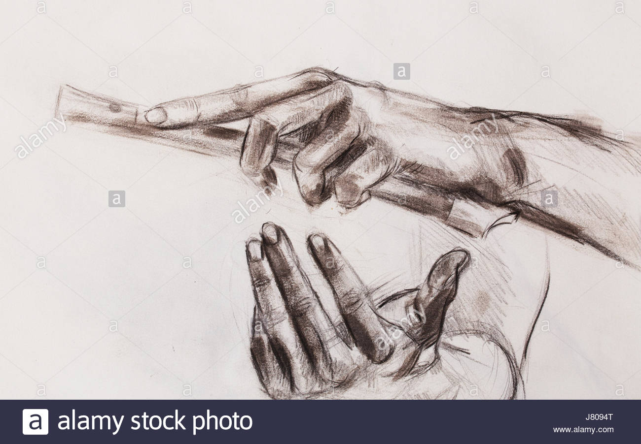 1300x902 Drawing Hand And Flute, Pencil Sketch On Paper Stock Photo