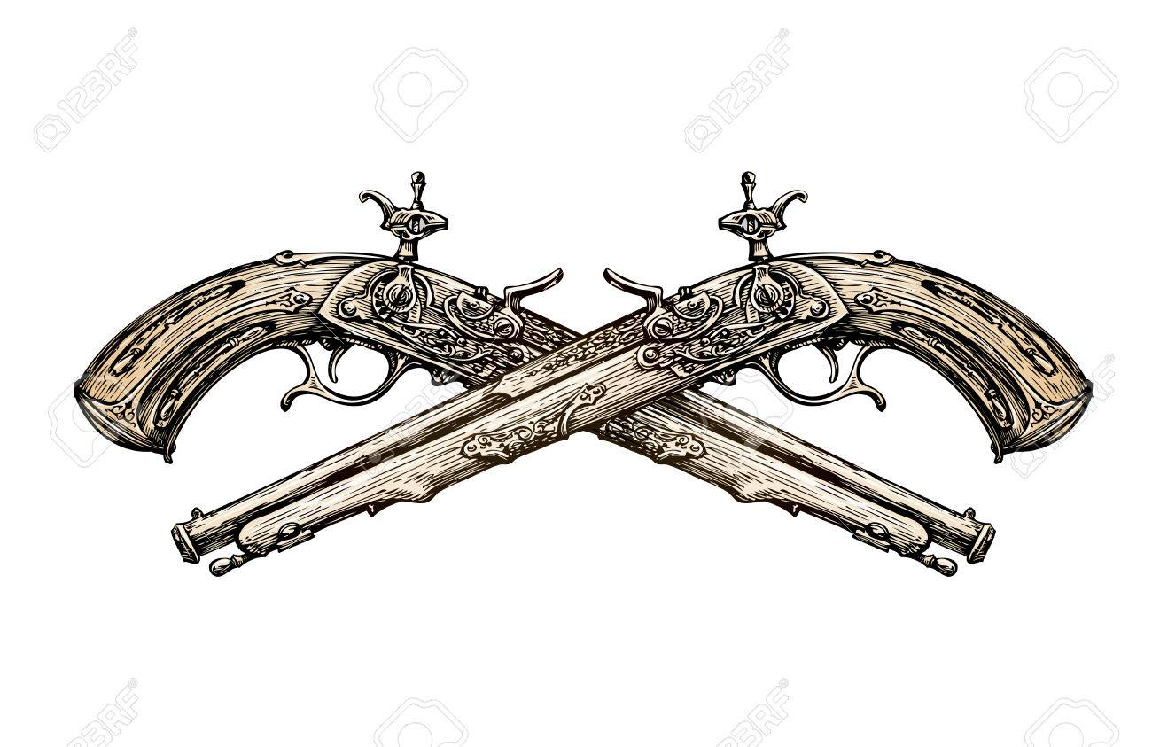 1300x843 Crossed Vintage Pistols. Hand Drawn Sketch Ancient Weapon. Duel