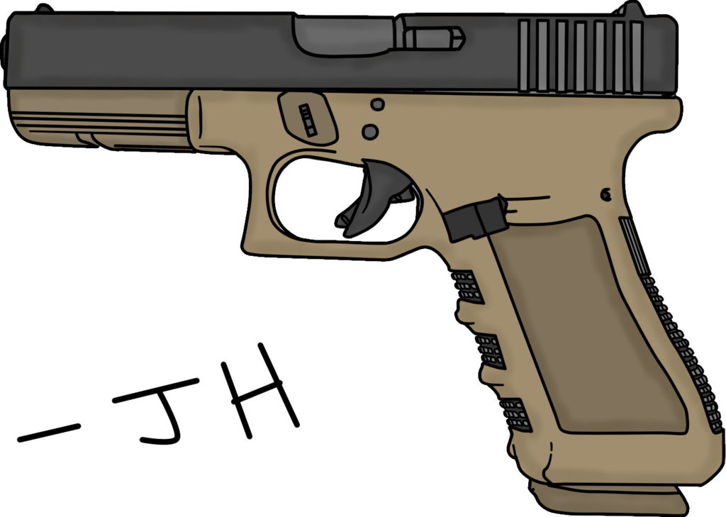 1024x729 Glock Pistol Drawing By Mrsouthbay