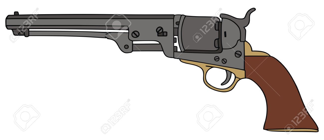 1300x563 Hand Drawing Of Classic Wild West Hand Gun Royalty Free Cliparts