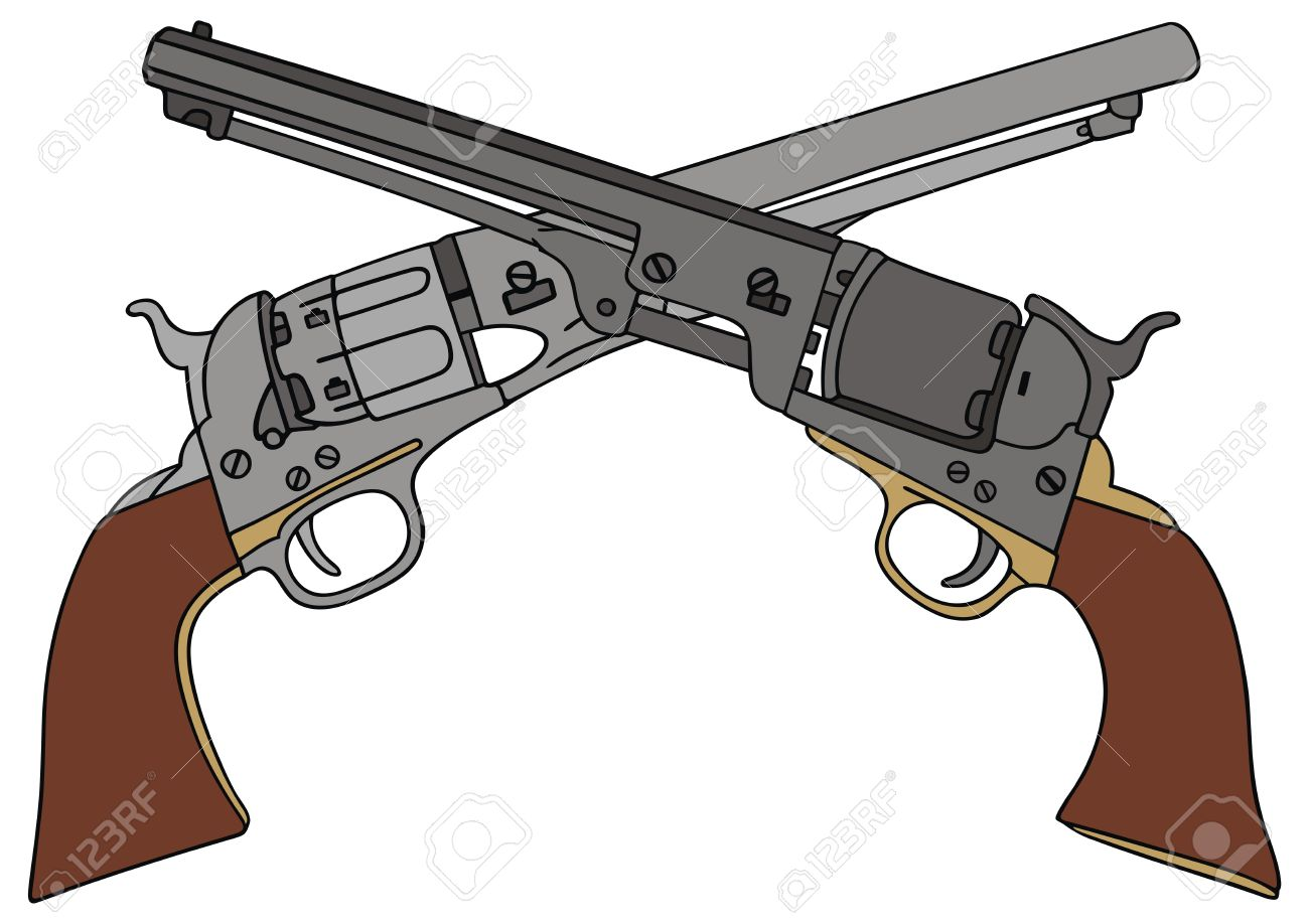 1300x918 Hand Drawing Of Two Classic Wild West Hand Guns Royalty Free