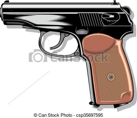 450x386 Modern Hand Gun (Pistol) Isolated On The White Background Eps