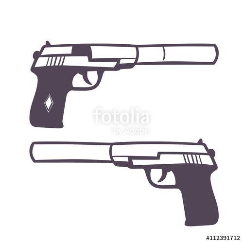 500x500 Hand Drawn Pistol With Silencer, Handgun On White, Vector