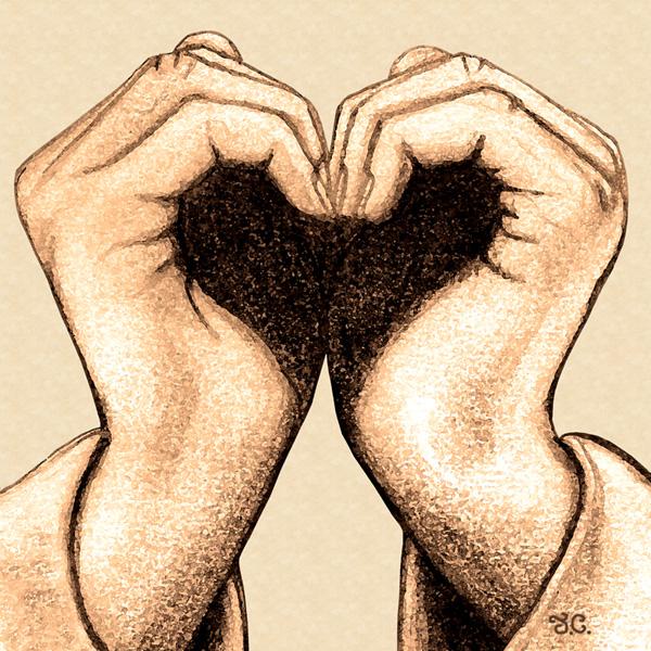 600x600 Hand Digital Art Expressing Love