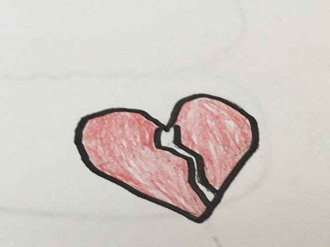 670x503 How To Draw A Broken Heart 9 Steps (With Pictures)