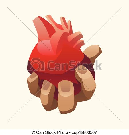 450x470 Hand Holding Human Heart. Vector Illustration. Vector Clipart