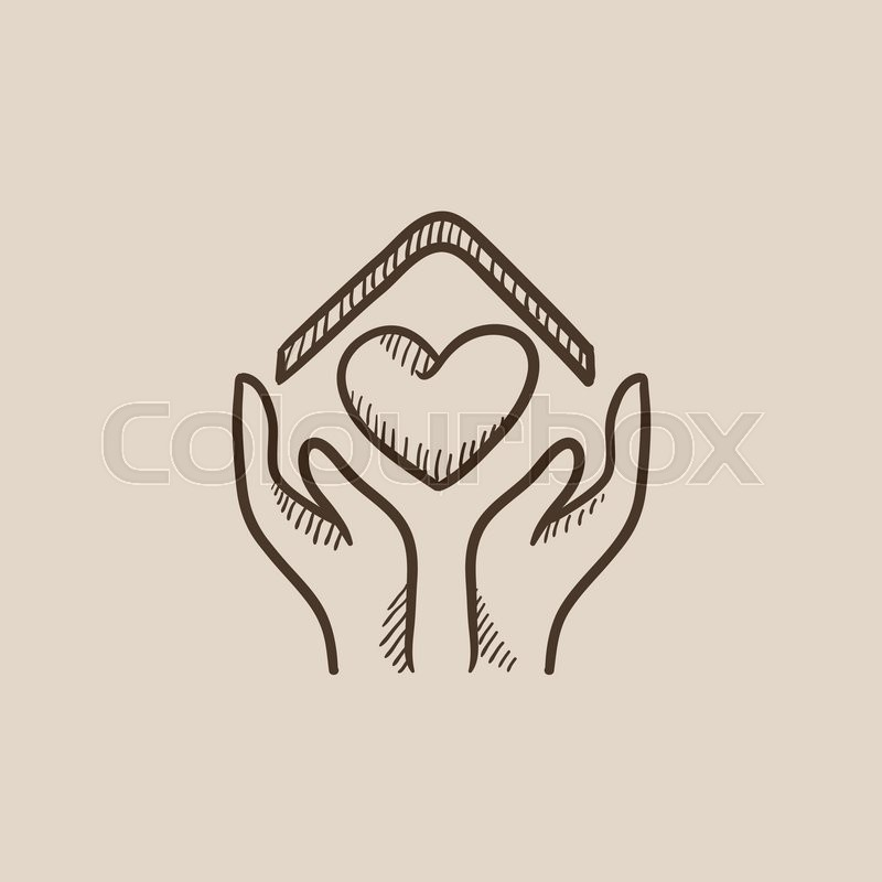800x800 Hands Holding House Symbol With Heart Shape Sketch Icon For Web