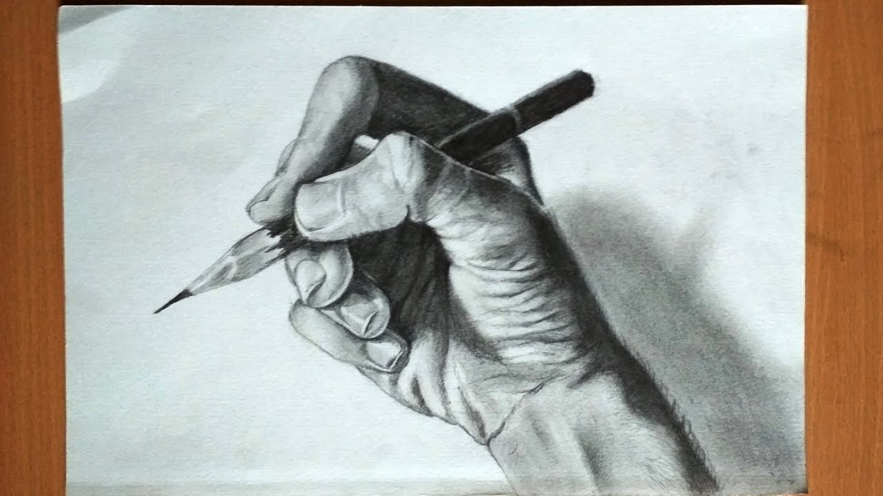 1280x720 Drawing A Hand Holding A Pencil