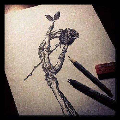 500x500 Skeleton Hand Holding Rose Tatt Sketch Wild Hand