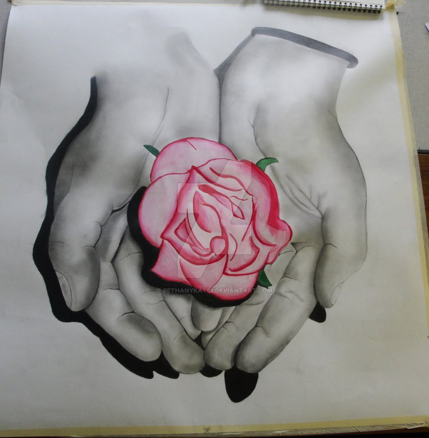 Hand holding a rose drawing at free for for Hand holding a rose drawing