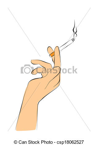 318x470 Hand Hold Cigarette. Woman Is Smoking Vector Illustration