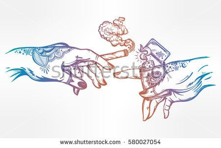 450x301 Tattooed Human Hands Holding A Weed Joint Or Spliff Or Tabacco