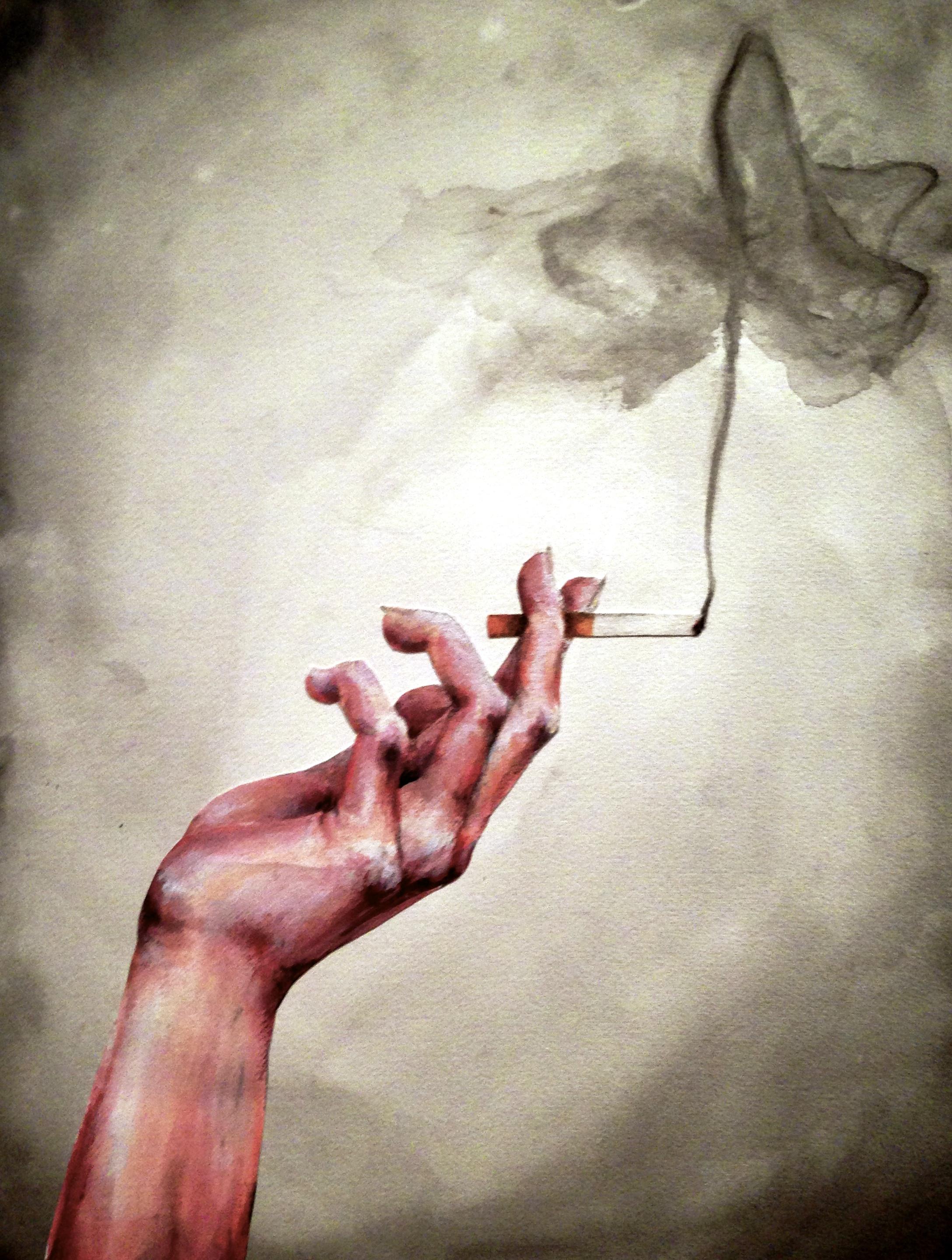 2177x2881 Hand Holding Cigarette In Watercolor Progression