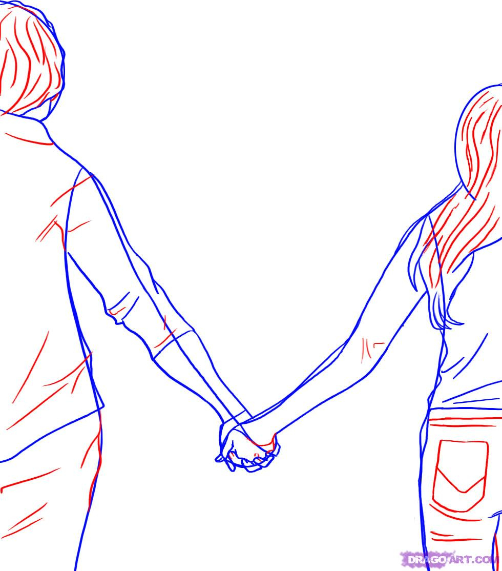 980x1114 How To Draw People Holding Hands Holding Hands Drawing Stepstep