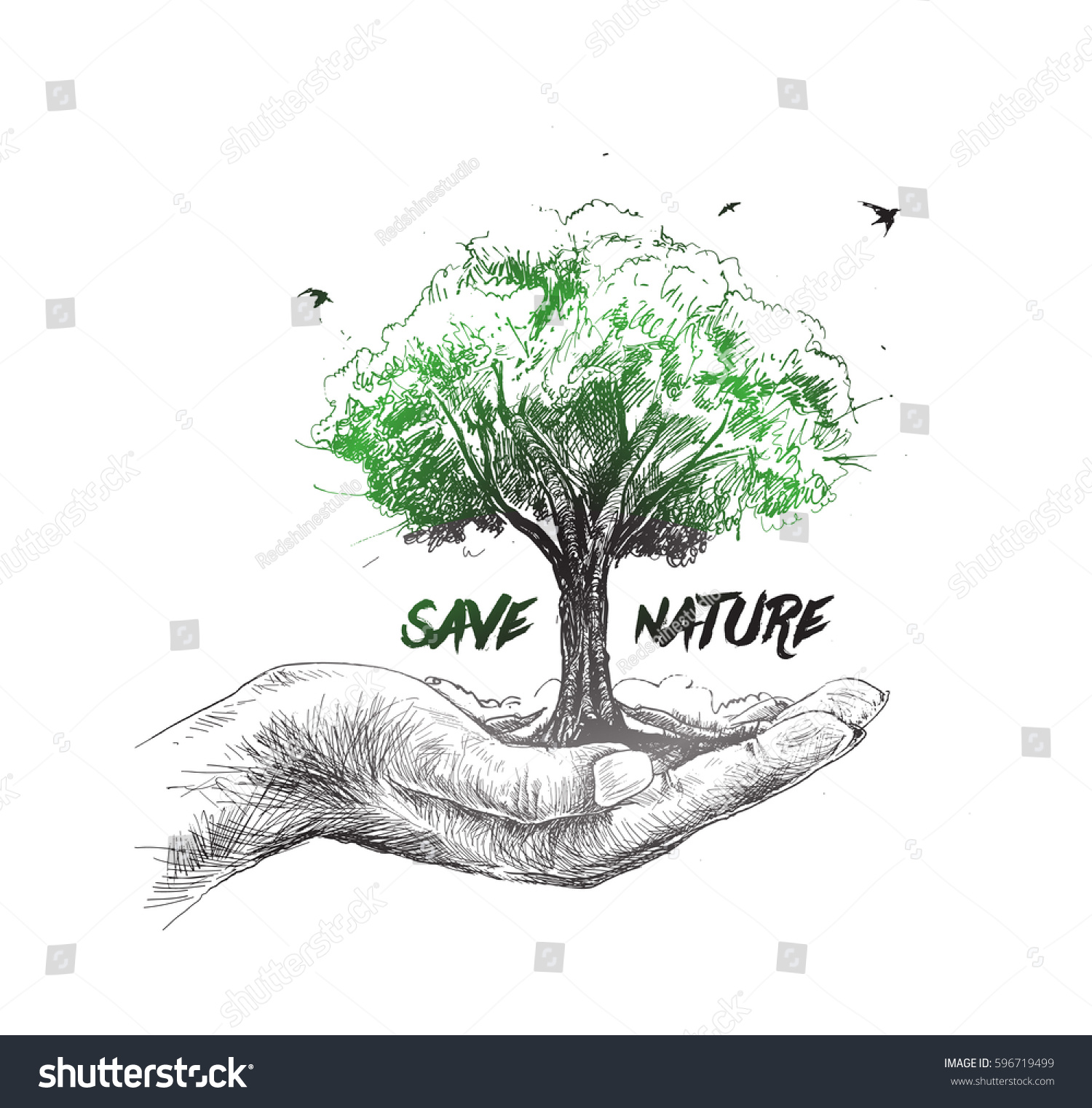 1500x1521 Save Nature Human Hand Holding Tree Against White Background