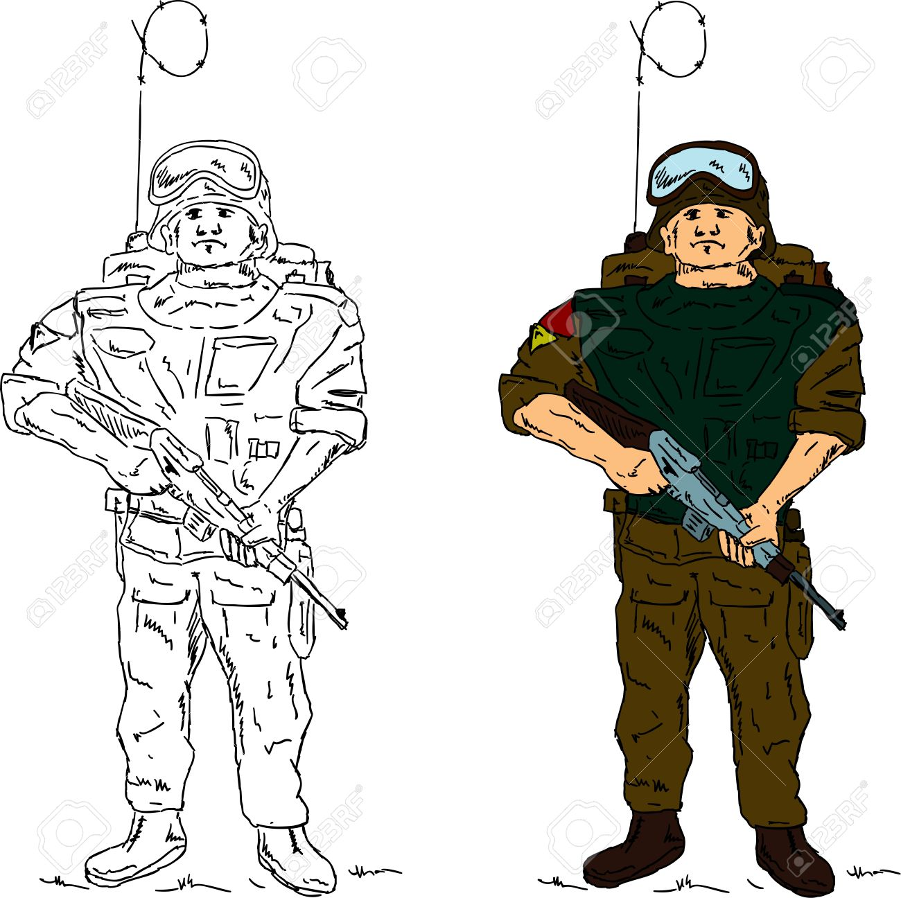 1300x1296 A Soldier Holding Gun , Hand Draw, Isolated On Background Royalty