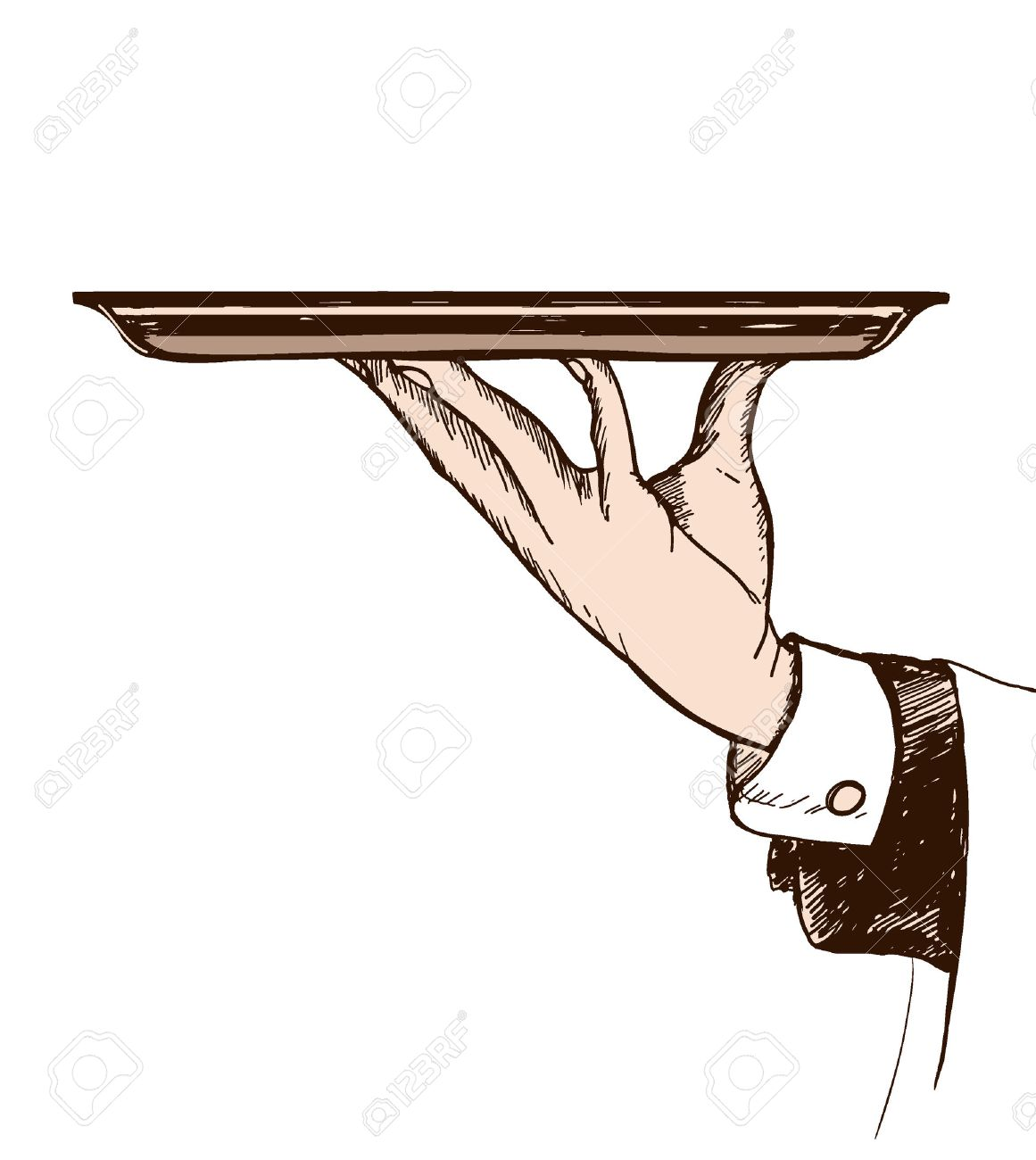1161x1300 Hand Drawn Illustration Of Waiters Hand Holding A Tray Royalty