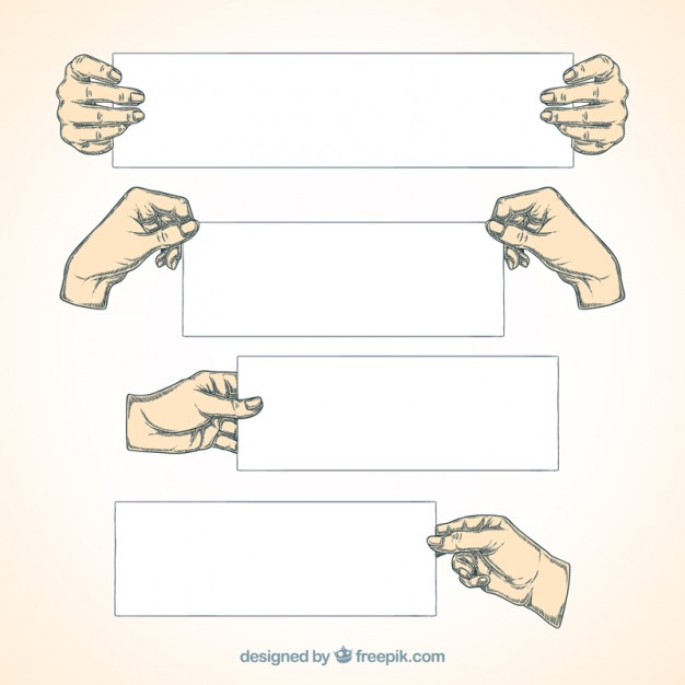 626x626 Hand Drawn Hands Holding Banners Vector Free Download