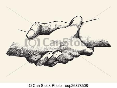 450x338 Vector Clipart Of Holding Hands