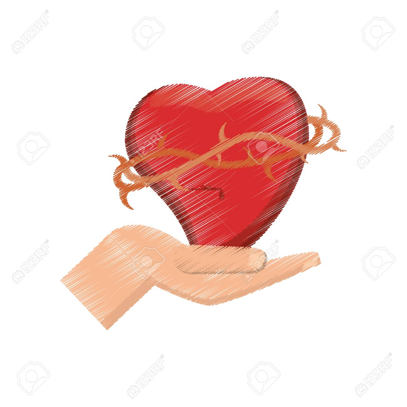 1300x1300 Drawing Hand Holding Heart Vector Illustration Royalty Free