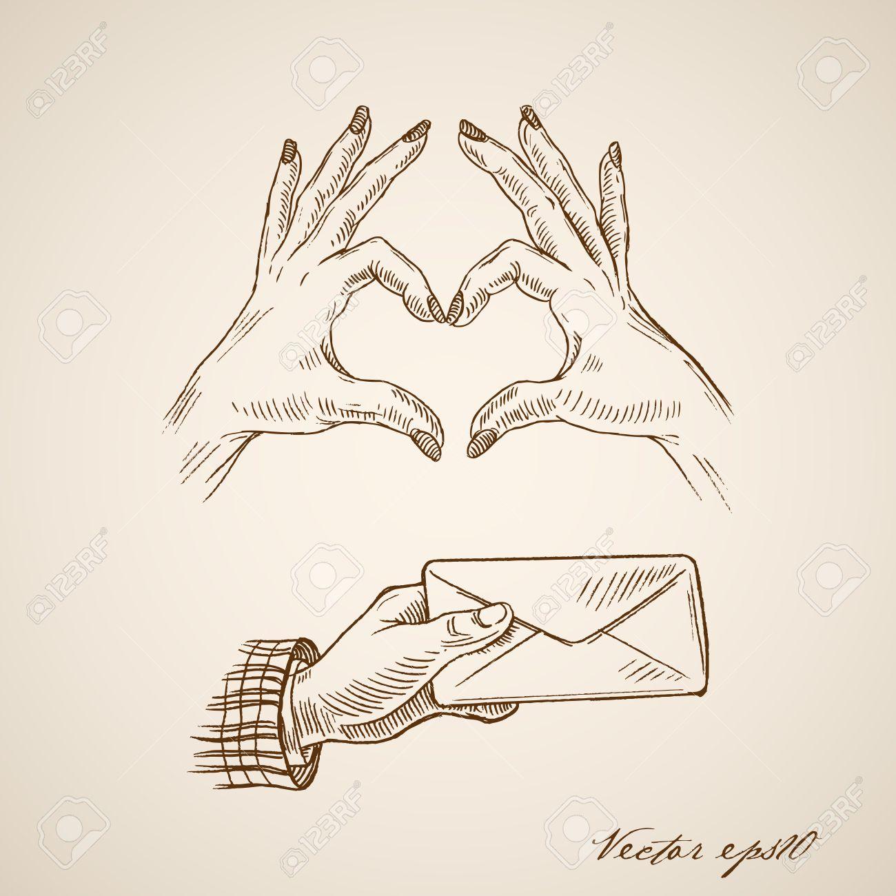 1300x1300 Engraving Vintage Hand Drawn Female Hands Making Heart Symbol