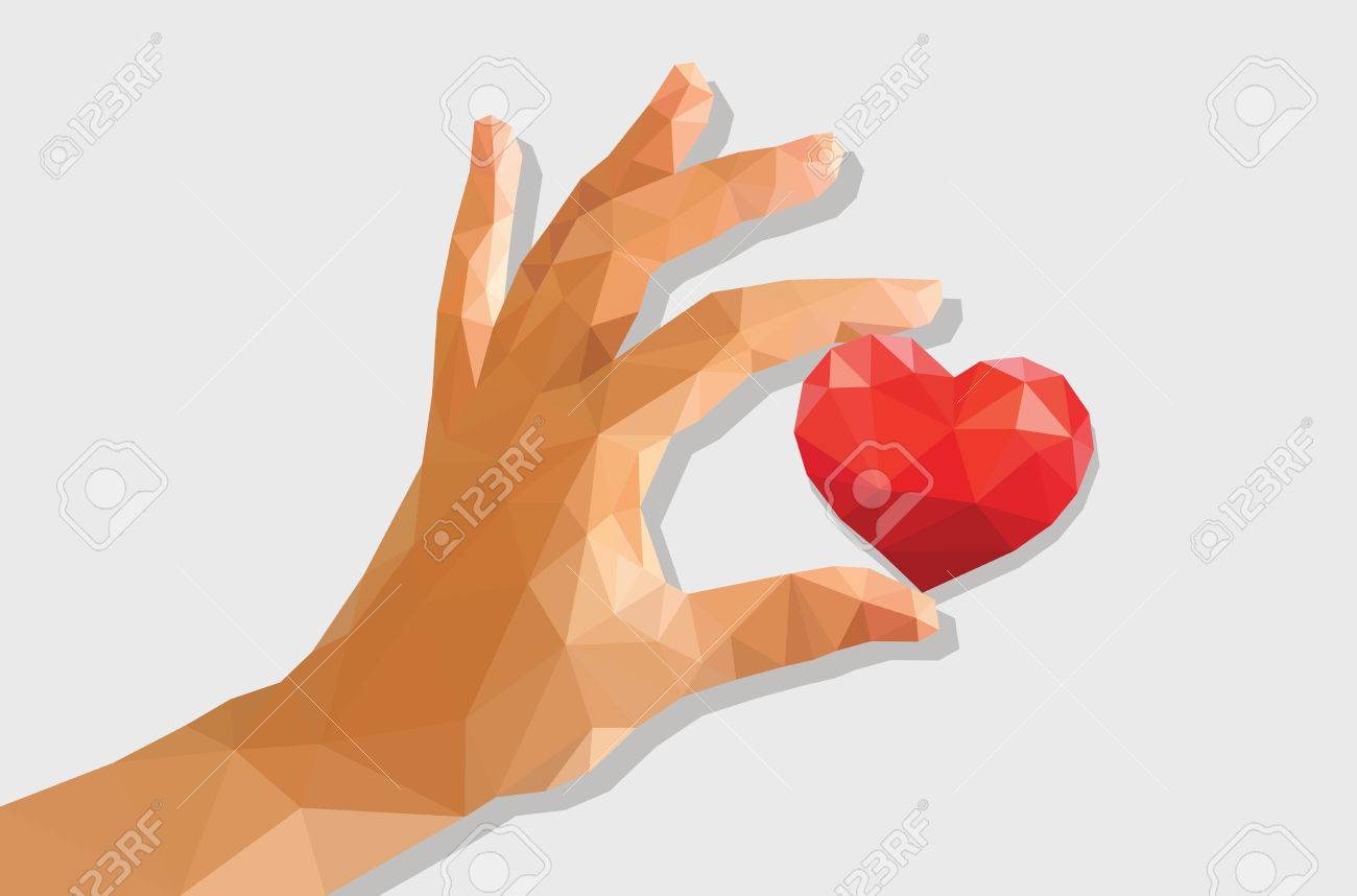 1300x858 Low Poly Polygon Left Hand Holding A Heart Drawing Cartoon. Stock
