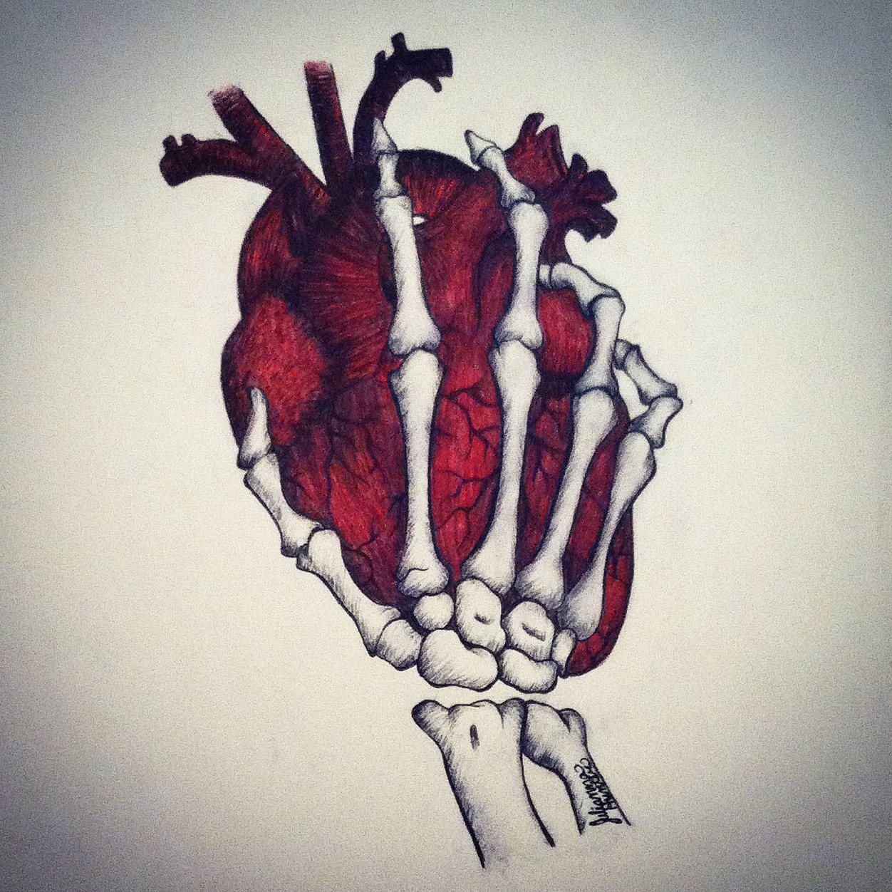 1252x1252 The Beating Heart Of A Skeleton By Julianna Hunter. A Pen Drawing