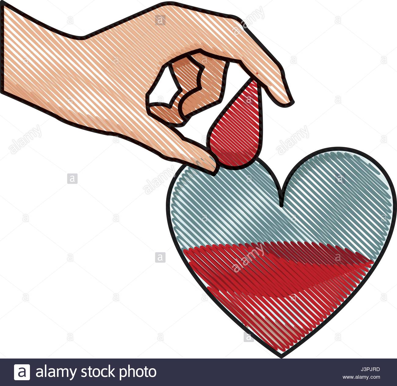 1300x1264 Drawing Hand Holding Drop Blood Heart Donation Stock Vector Art