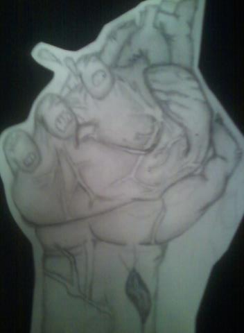 352x480 Zombie Hand Holding A Human Heart By Audryy