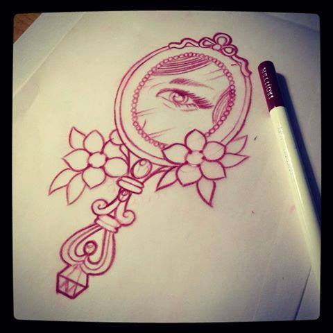 fancy hand mirror tattoo. Plain Tattoo 480x480 Hand Mirror With Eye Tattoo Designdrawing By Mr Curtis Intended Fancy Mirror Tattoo I