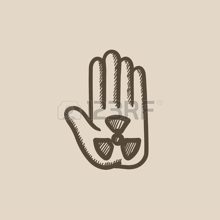 450x450 Ionizing Radiation Sign Palm Vector Sketch Icon Isolated