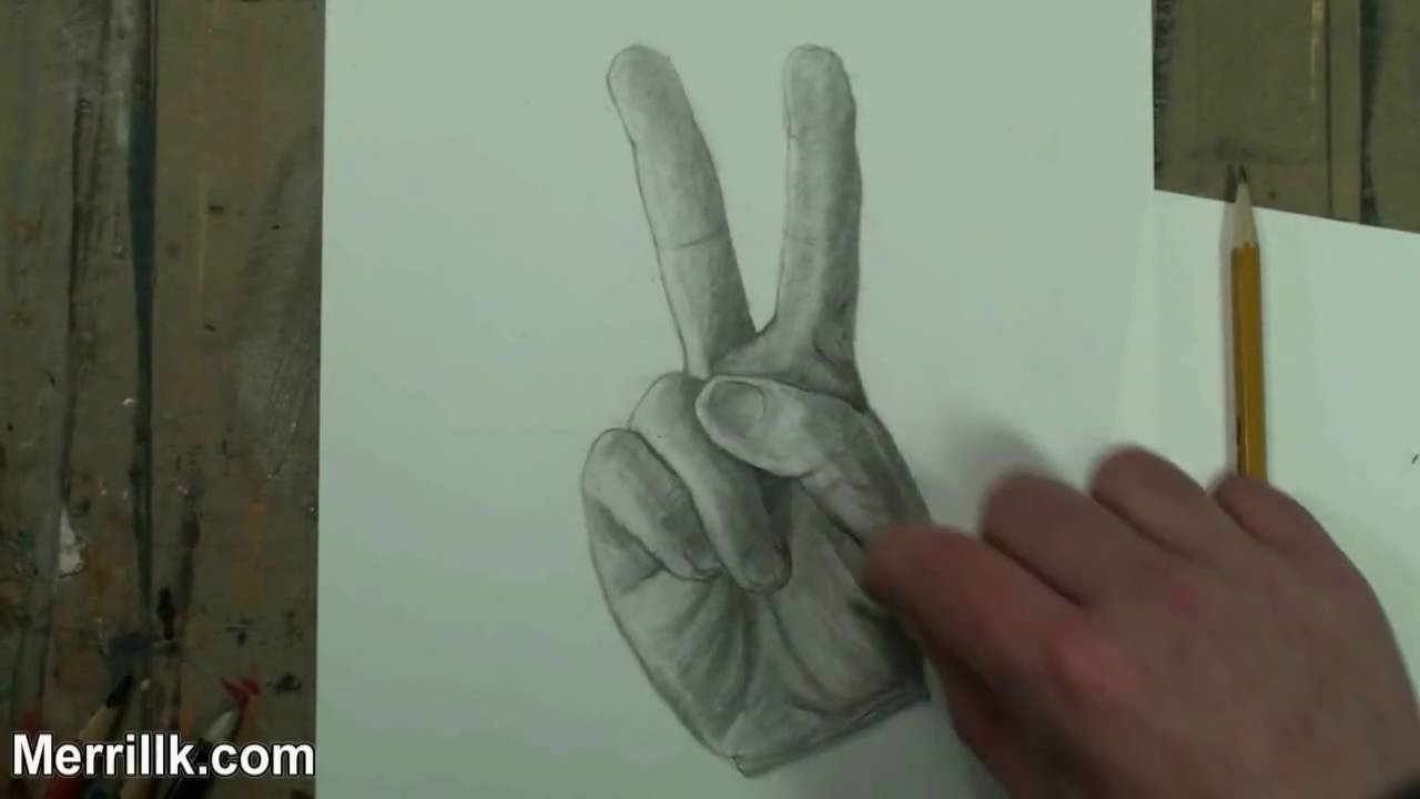 1280x720 How To Draw The Hand Step By Step (Peace Sign) Pencil Drawing