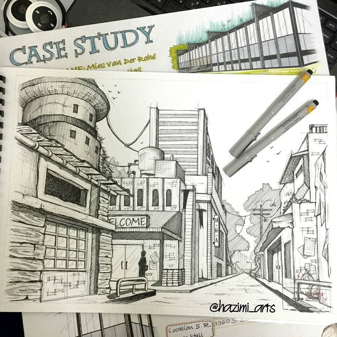 1080x1080 Architecture Graphic One Point Perspective Free Hand Drawing