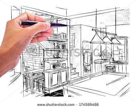 450x358 Designer's Hand Drawing Interior Perspective Of Irish Pub On White