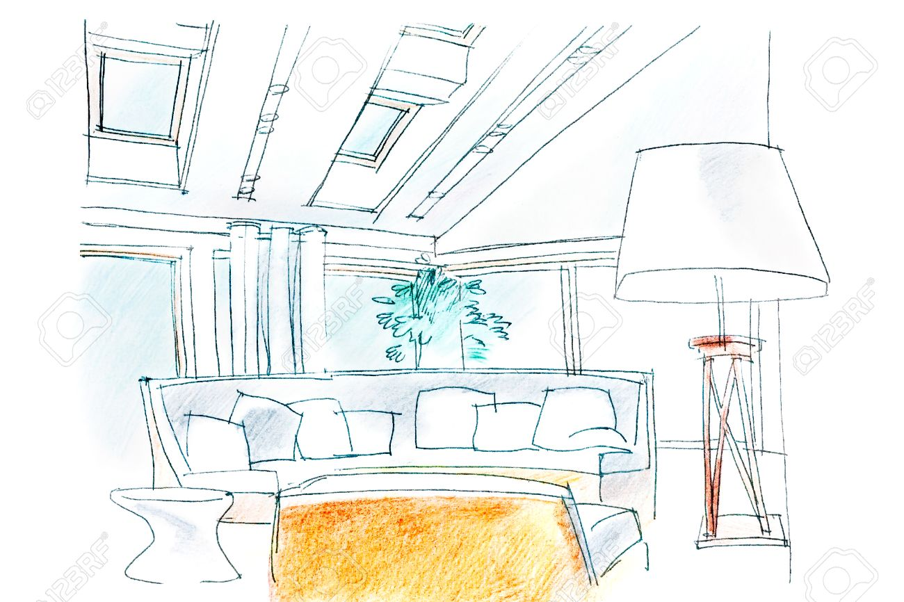 1300x866 Hand Drawing Interior Perspective Of Modern Living Room Stock