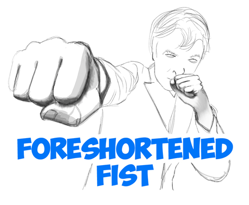 500x411 How To Draw Foreshortened Fists Foreshortening Hands