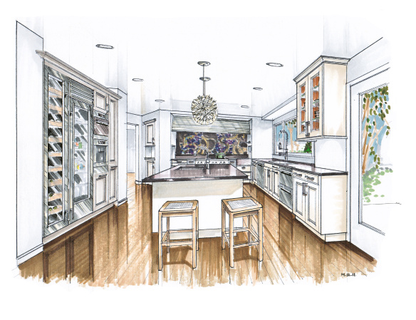 584x449 More Recent Kitchen Renderings Hand Drawn