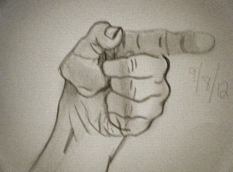 900x666 Practice Drawing Not So Realistic Pointing Hand By Akraen