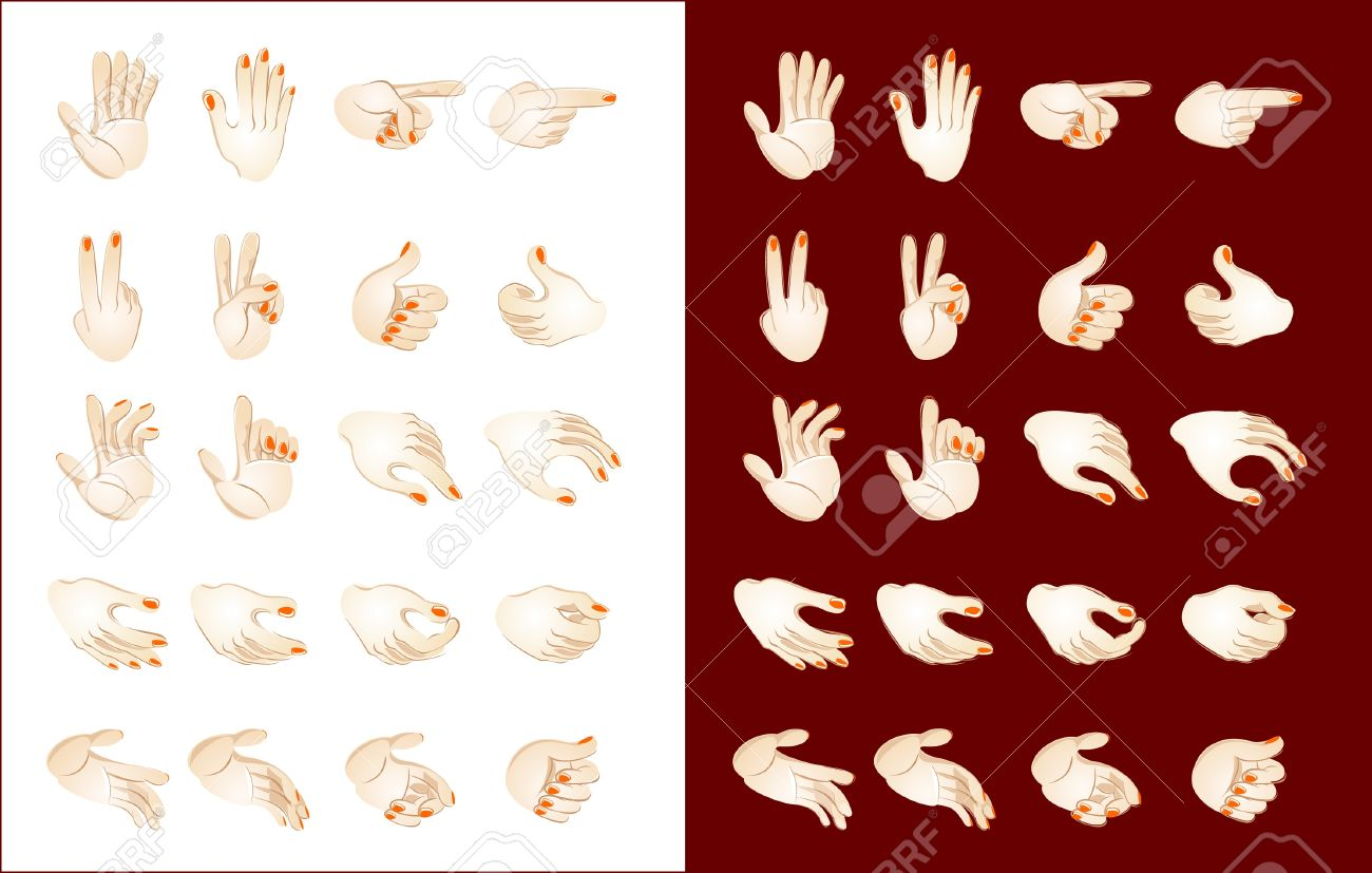how to draw different hand positions