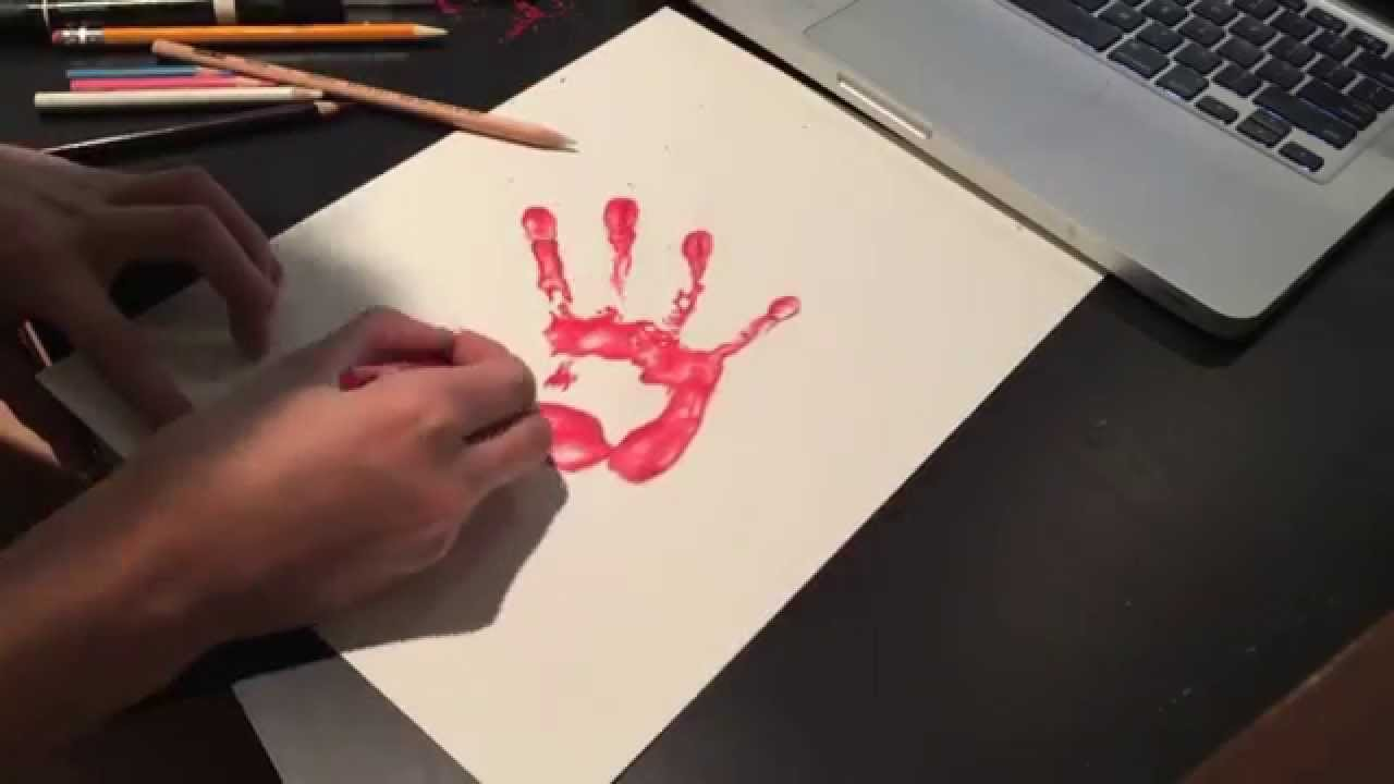 1280x720 Bloody Hand Print Speed Drawing
