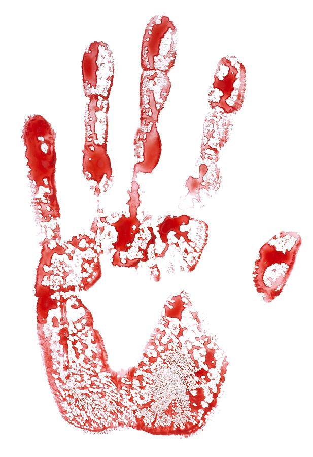 617x900 Isolated Bloody Handprint Drawing By Aleksandr Volkov