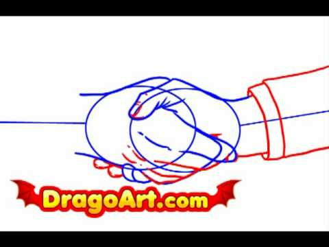 480x360 How To Draw Shaking Hands, Step By Step
