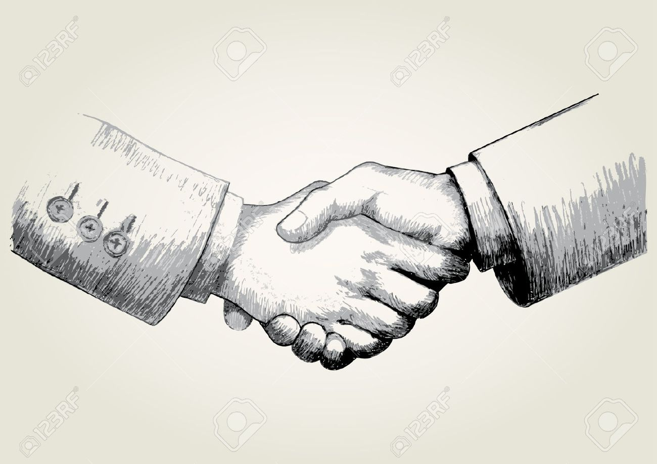1300x919 Sketch Illustration Of Shaking Hands Royalty Free Cliparts