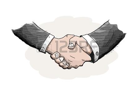 450x300 Stick Figure Handshaking, A Hand Drawn Vector Doodle Illustration