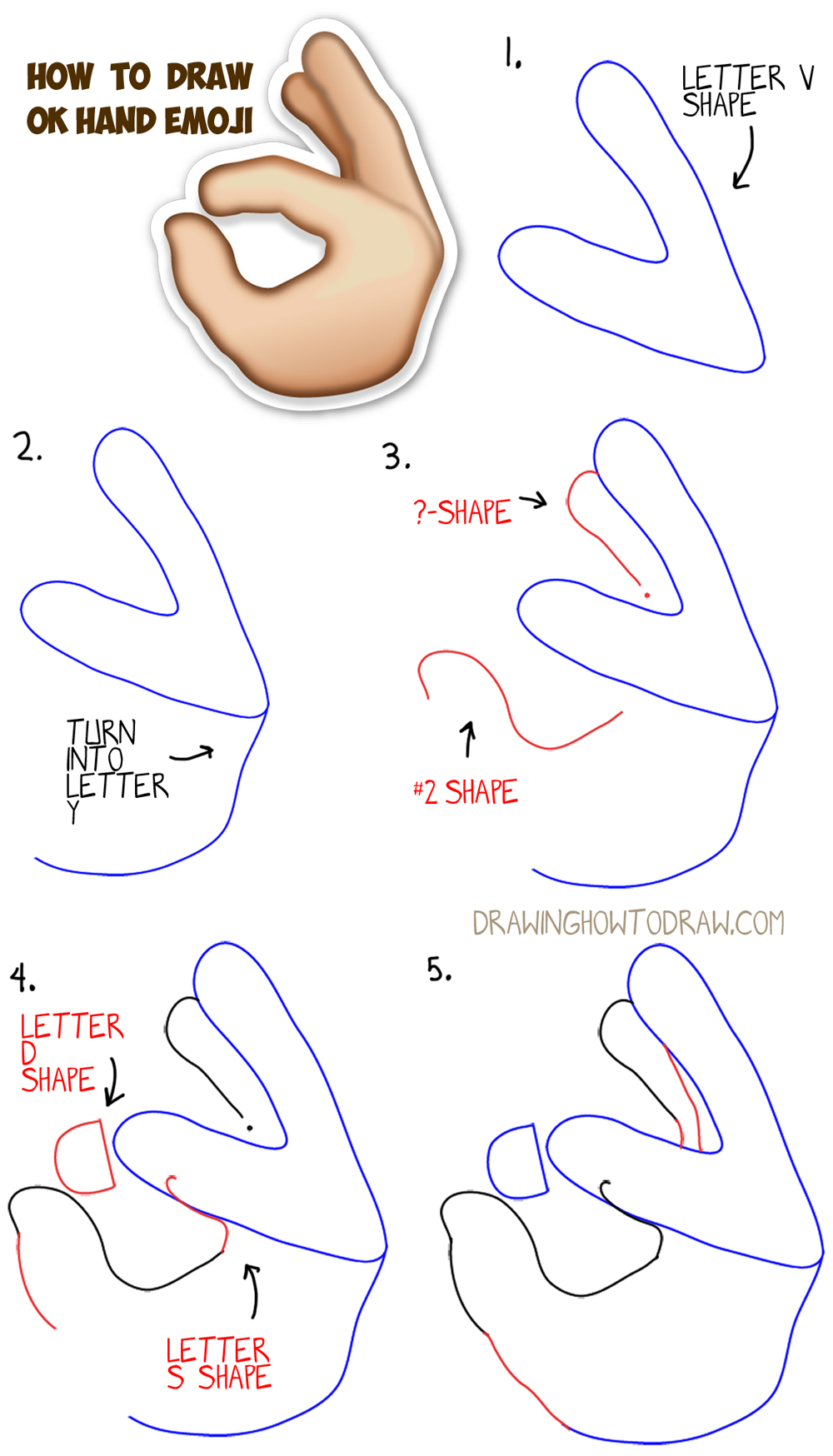 1000x1748 How To Draw Ok Hand Emoji With Easy Steps Drawing Lesson